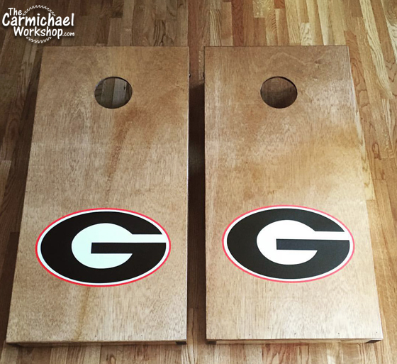 Cornhole Game Boards with Georgia Bulldogs Logo