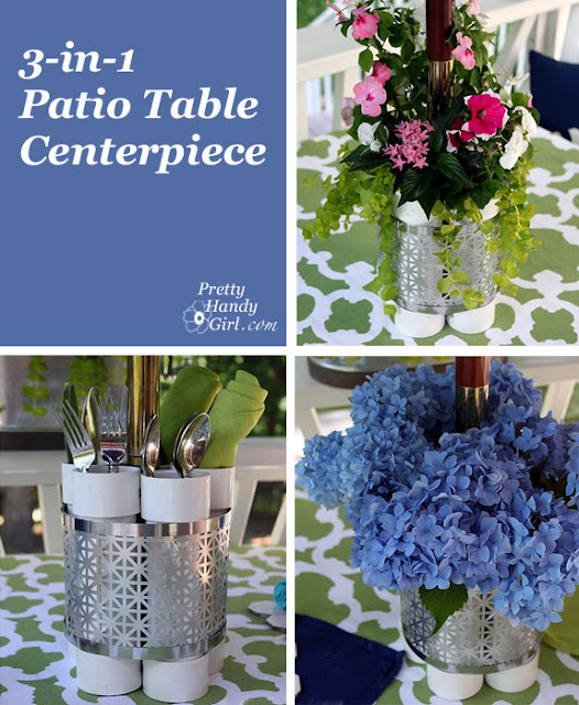Organize Silverware on your outdoor table with PVC pipe :: OrganizingMadeFun.com