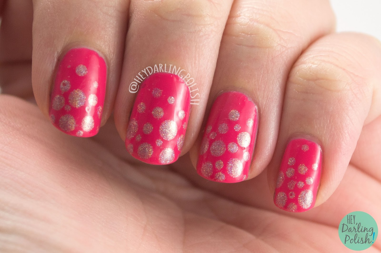 indie polish, nails, nail art, nail polish, pink, polka dots, dots, hey darling polish, nail linkup, bright, holo