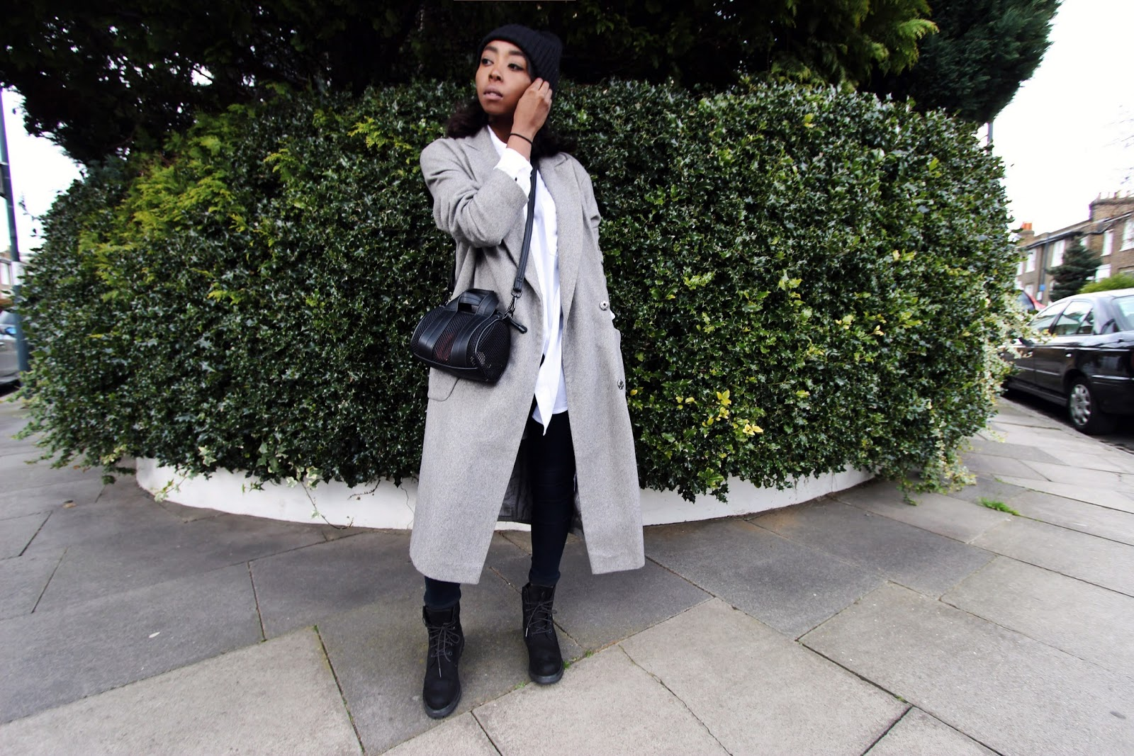 Grey over sized wool coat with all black timberland boots