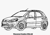 Gambar Mewarnai Mobil Suzuki SX-4