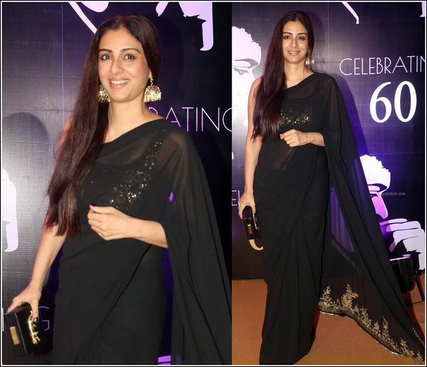 Bollywood Diva Tabu was Seen in Black Sabyasachi Saree
