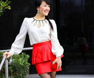 Red Peplum with Blackjack