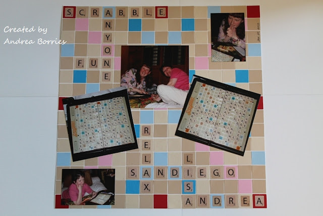 "Scrapbook page with background made of punched 3/4"" squares arranged to look like a Scrabble board."
