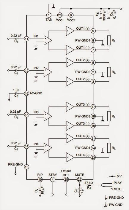 47 Watt 4-channel Audio Power Circuit Diagram