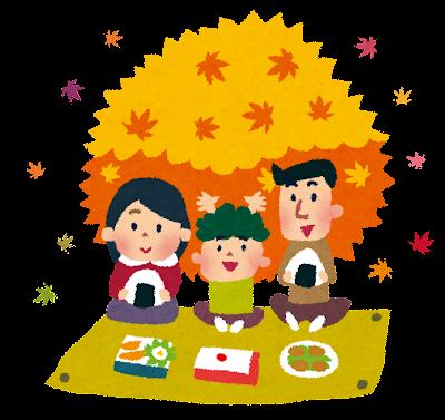 紅葉のイラスト「家族でピクニック」