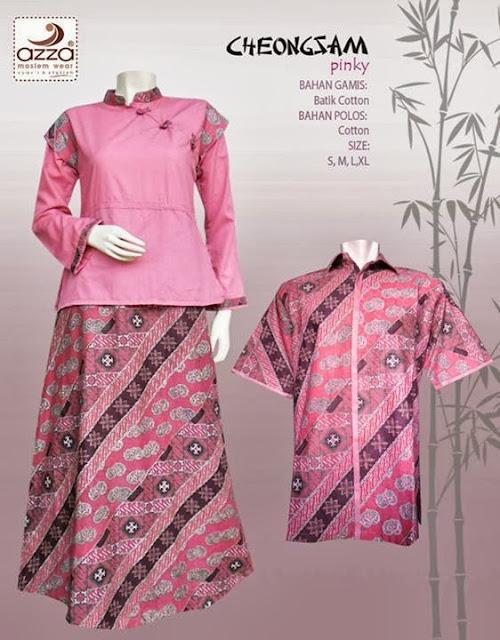 Gamis dan Kemeja Sarimbit Cheongsam Pink