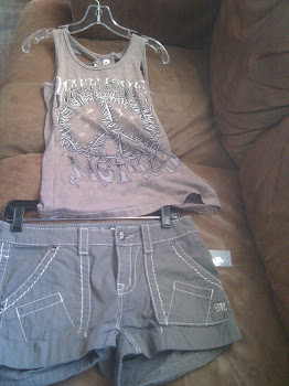 Affliction tank top and MissMe shorts