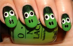 Cute Green Smiley Nail Art