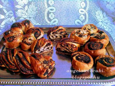 mákos csokoládés csigák, muffin sütőben és tepsiben sütve, virág mintát formázva