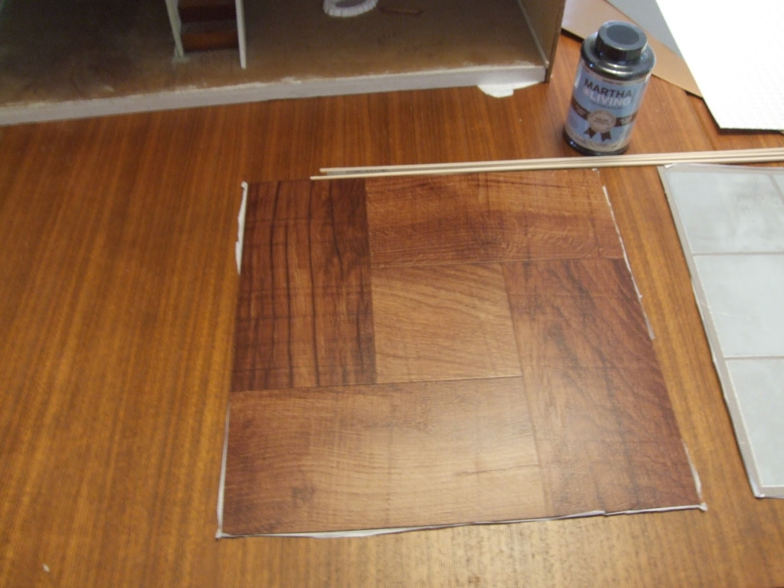 Diy hardwood dollhouse flooring from vinyl tiles little for Floor vinyl tiles