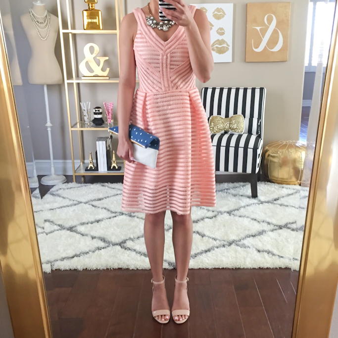 Sheinside v neck pink hollow flare dress Clare V polka dot pouch BP luminate sandals home office decor gold mirror dress form striped accent chair gold bow pillow