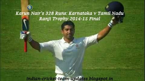 Karun Nair's 328 Runs: Karnataka v Tamil Nadu, Ranji Trophy 2014-15 Final