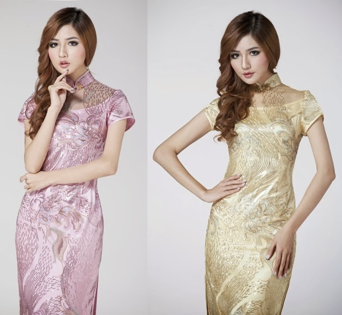 Lace Sequin Silk Long Cheongsam