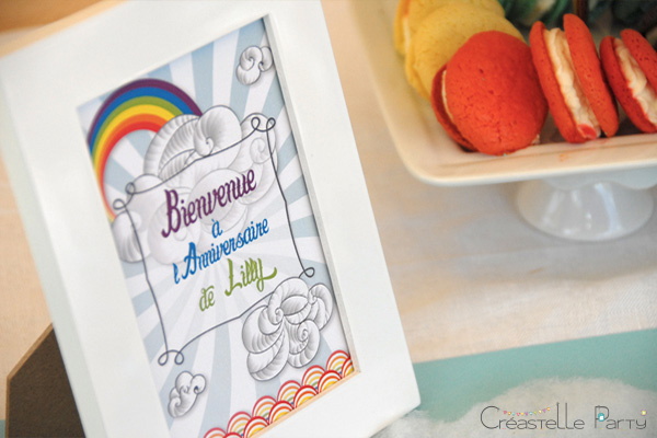 Sweet table arc-en-ciel affichette de bienvenue / rainbow welcome sign