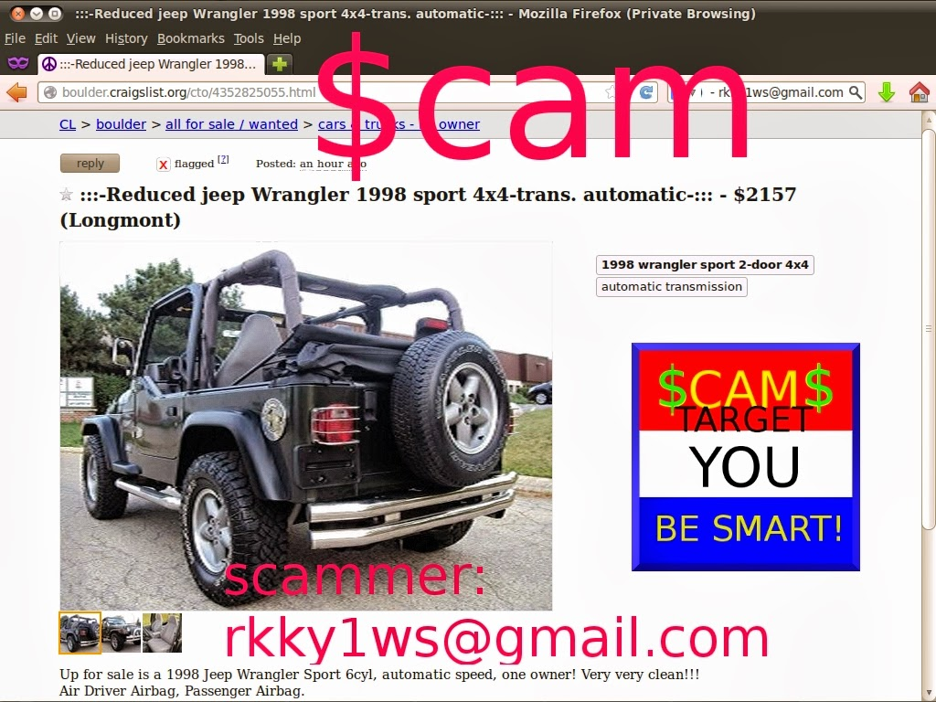 craigslist scam ads detected 02/27/2014 - update 2 | vehicle scams