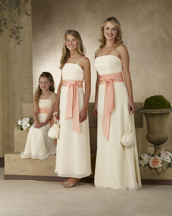 white junior bridesmaid dress with sash