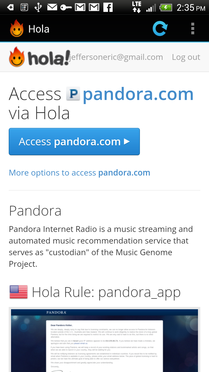 how to use pandora on android