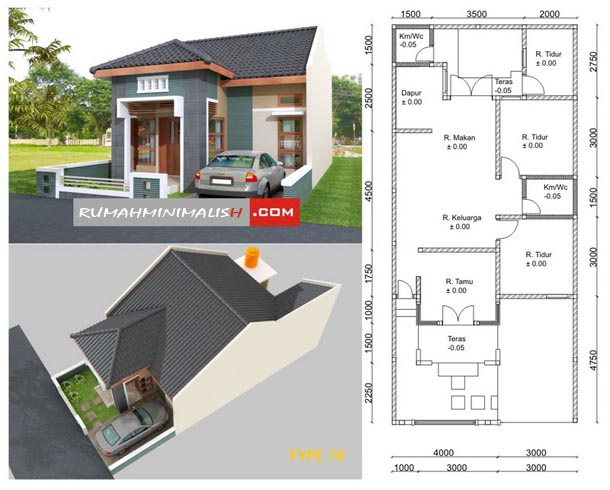 Examples of Minimalist Luxury Home Design Type 70 and Its Plan | In ...