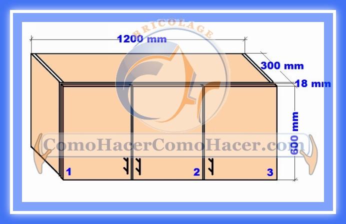 Plano mueble cocina alacena de melamina detalles del for Planos para fabricar muebles de cocina