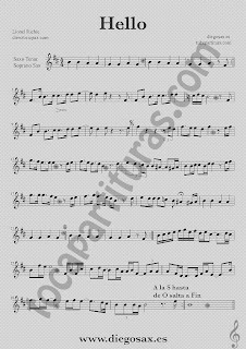 Partitura de Hello para Saxofón Tenor y Saxo Soprano en si bemol Lionel Richie  Sheet Music for Alto Saxophone y Tenor Sax Music Scores Hello