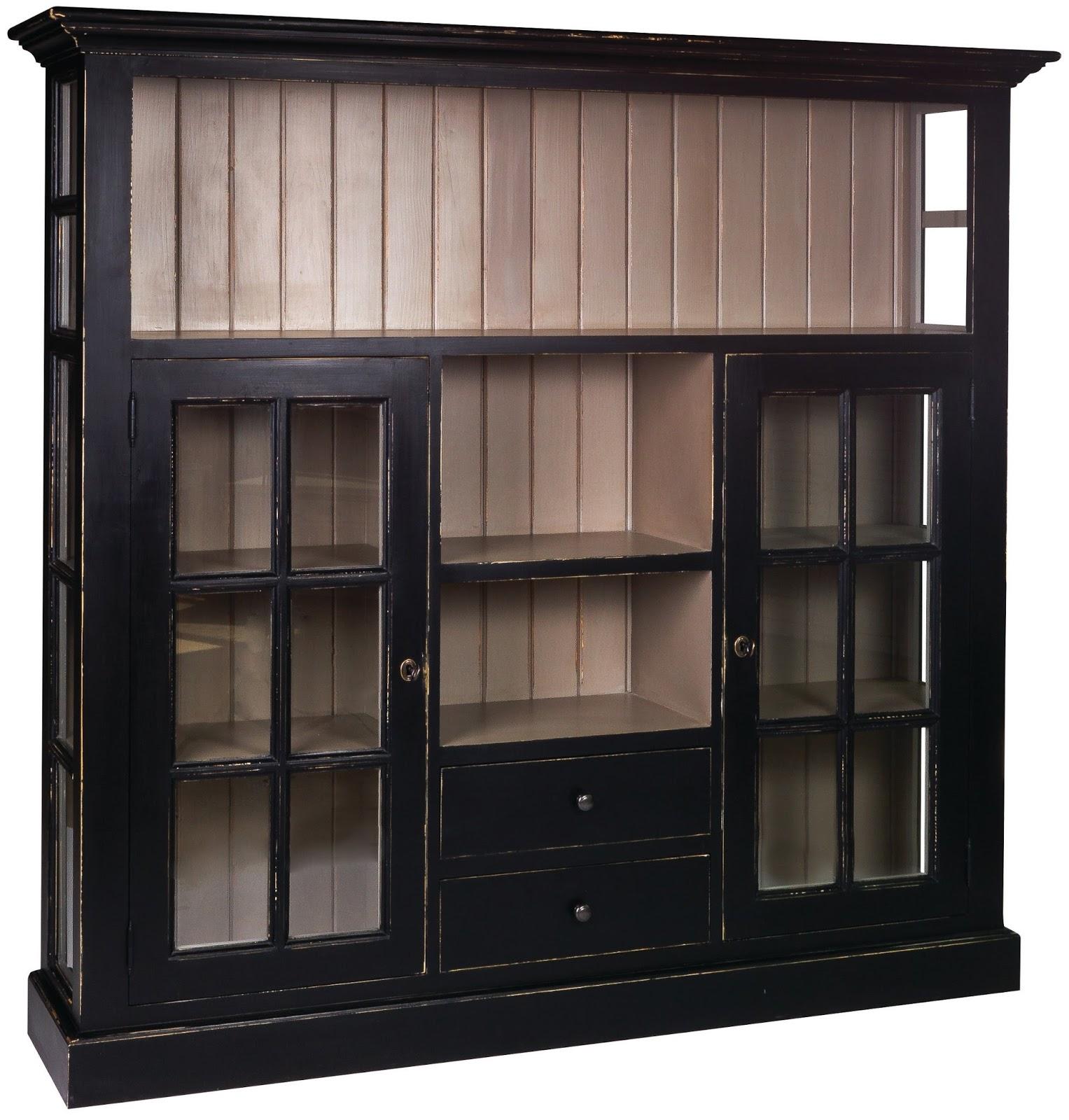 Meble prowansalskie, stylowa witrynka, mebel do biblioteki domowej, stylowe meble, czarna witrynka,