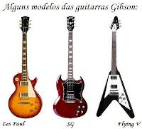 modelos famosos de guitarra da marca Gibson: Les Paul, SG e Flying V
