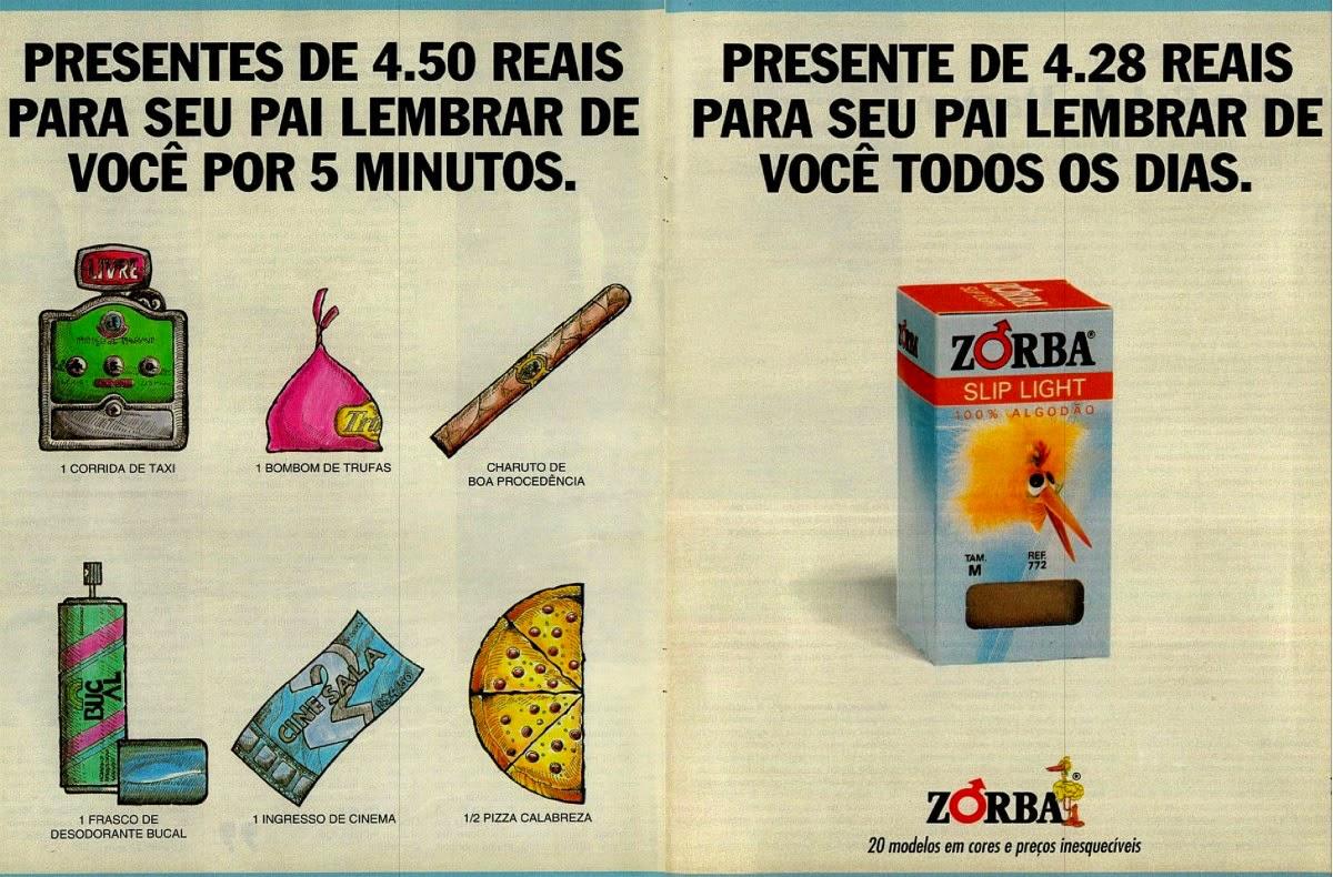 Propaganda das Cuecas Zorba para o Dia dos Pais em 1994 - qual presente comprar com R$4,50?