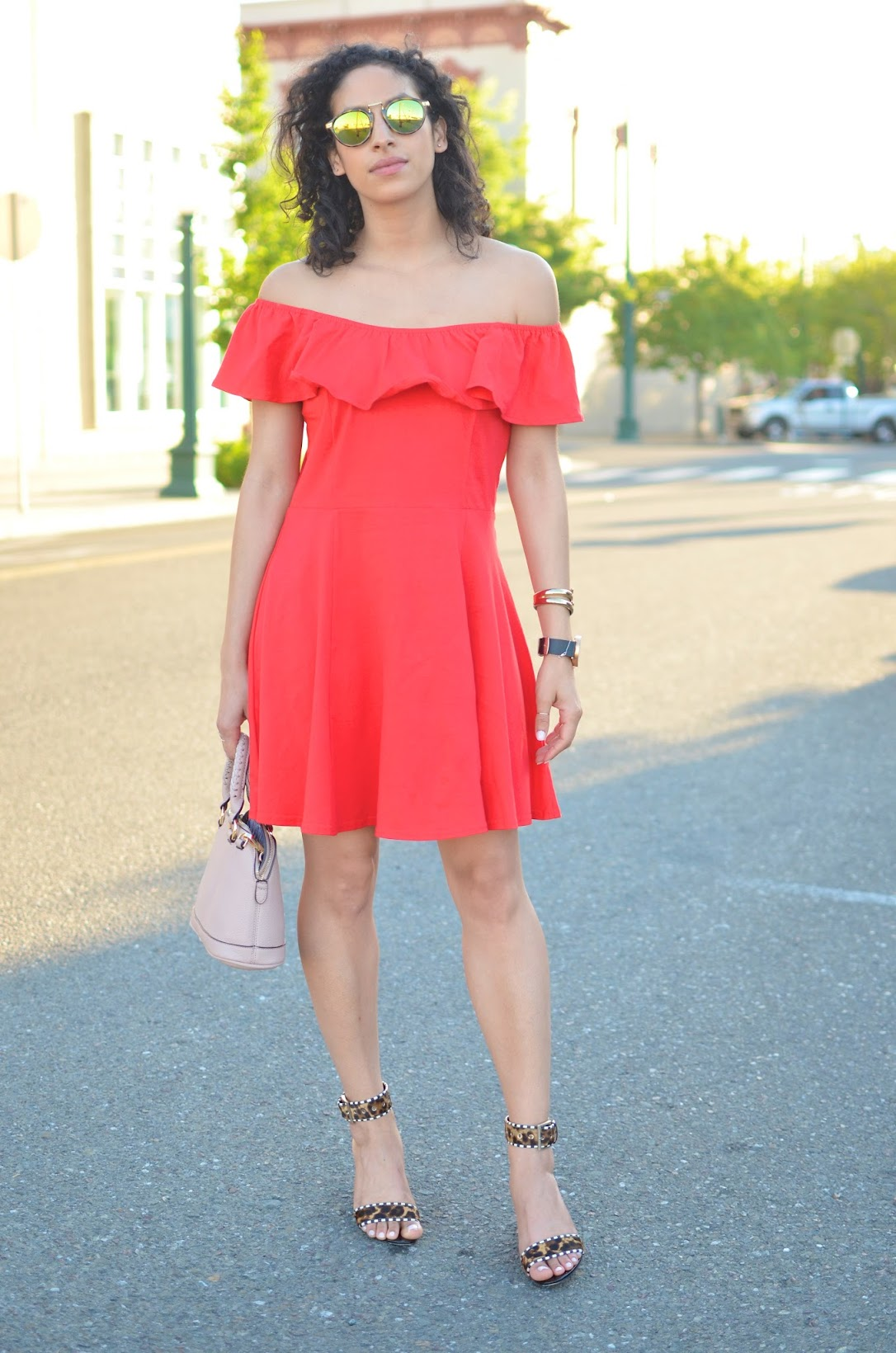 little red dress, off the shoulder dress, Bardot dress, Asos off the shoulder dress, mirror sunglasses, Brian Atwood leopard wedge sandals, pink cross body bag