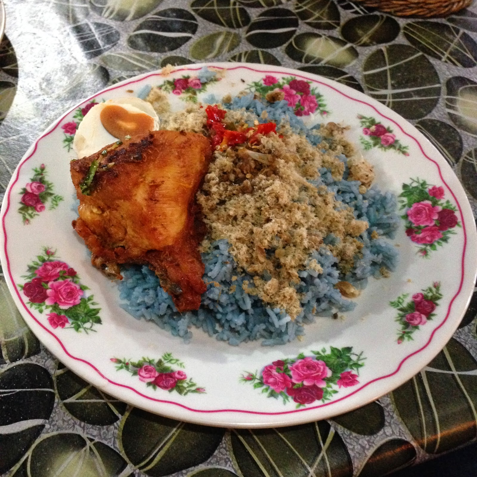Nasi kerabu with no vegetable
