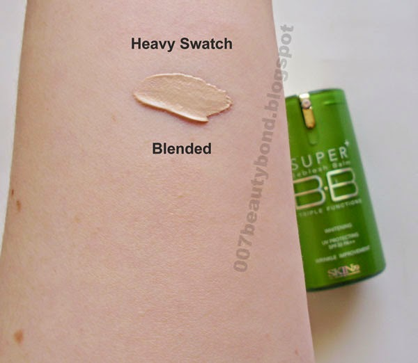 Swatches Skin79 Silky Green Super Plus Beblesh Balm blended fair skin makeup