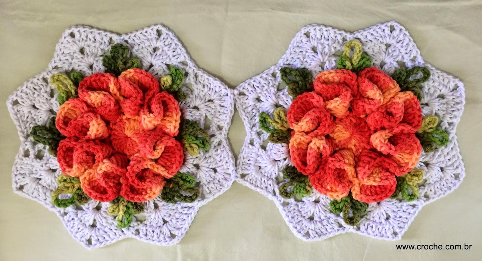tapetes de crochê com flores formato bordado