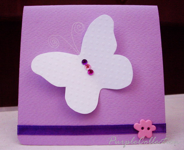 Square Birthday Cards, butterfly, purple