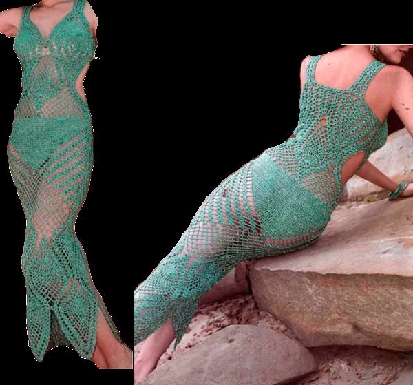 зеленый пляжный сарафан, связанный крючком