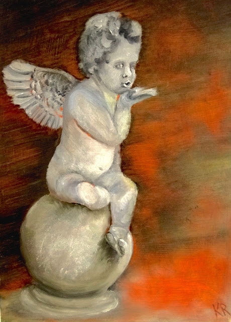 oil painting of a cherub blowing a kiss