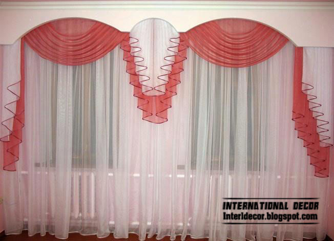 Red And White Curtain Model In Romantic Design For Living Room 2013