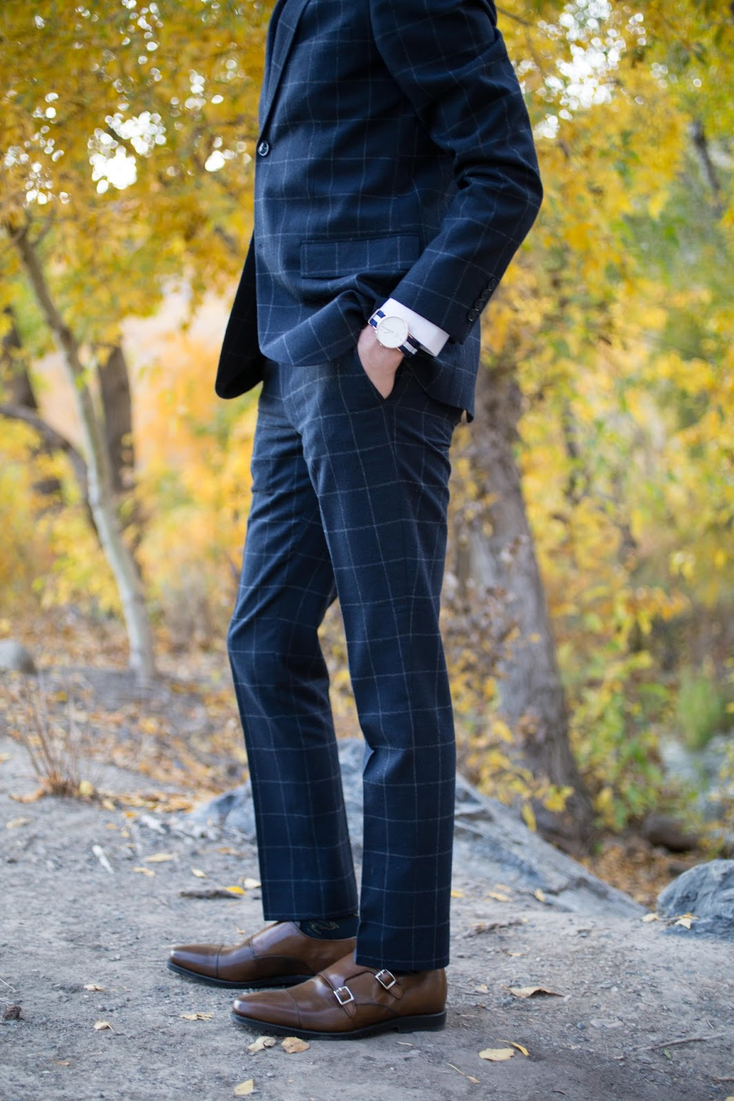 Topman Skinny Windowpane Navy Suit