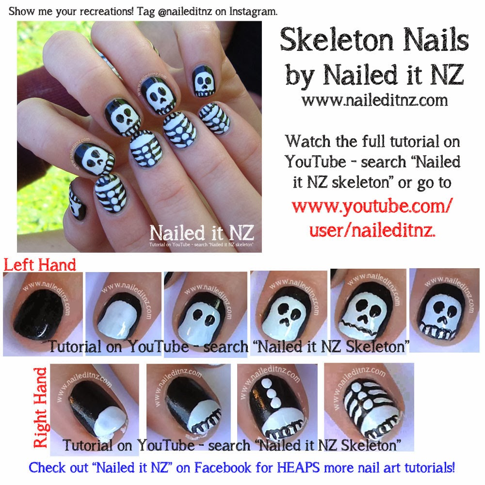 Halloween nail art tutorials ghost jack o lantern skeleton an error occurred prinsesfo Gallery