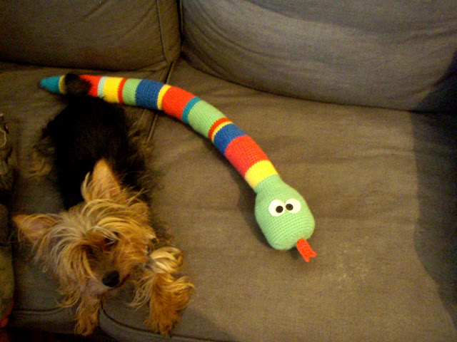 crochet baby snake toy funny stripes and yorkie