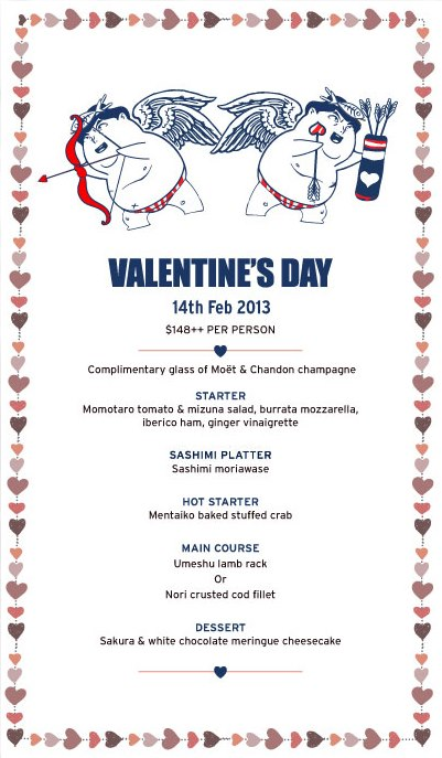 Sharing All The Good Eats In Singapore Valentine S Day Menus 2013