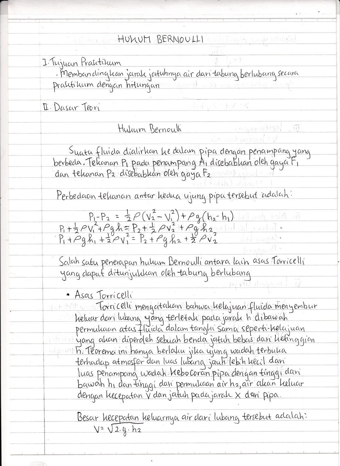 Iseng Iseng Laporan Praktikum Fisika Hukum Bernoulli Belom Selesai
