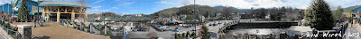 panorama of downtown gatlinburg tennessee, in front of the aquarium