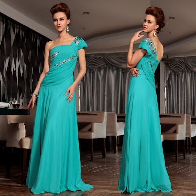 Aqua One Shoulder Floor Length Dress