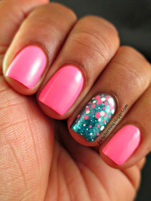 Color Club Flamingo, Sephora by OPI I'm So Sari!, pink, teal, glitter, simple, dotticure, accent nail, nail art, nail design, mani