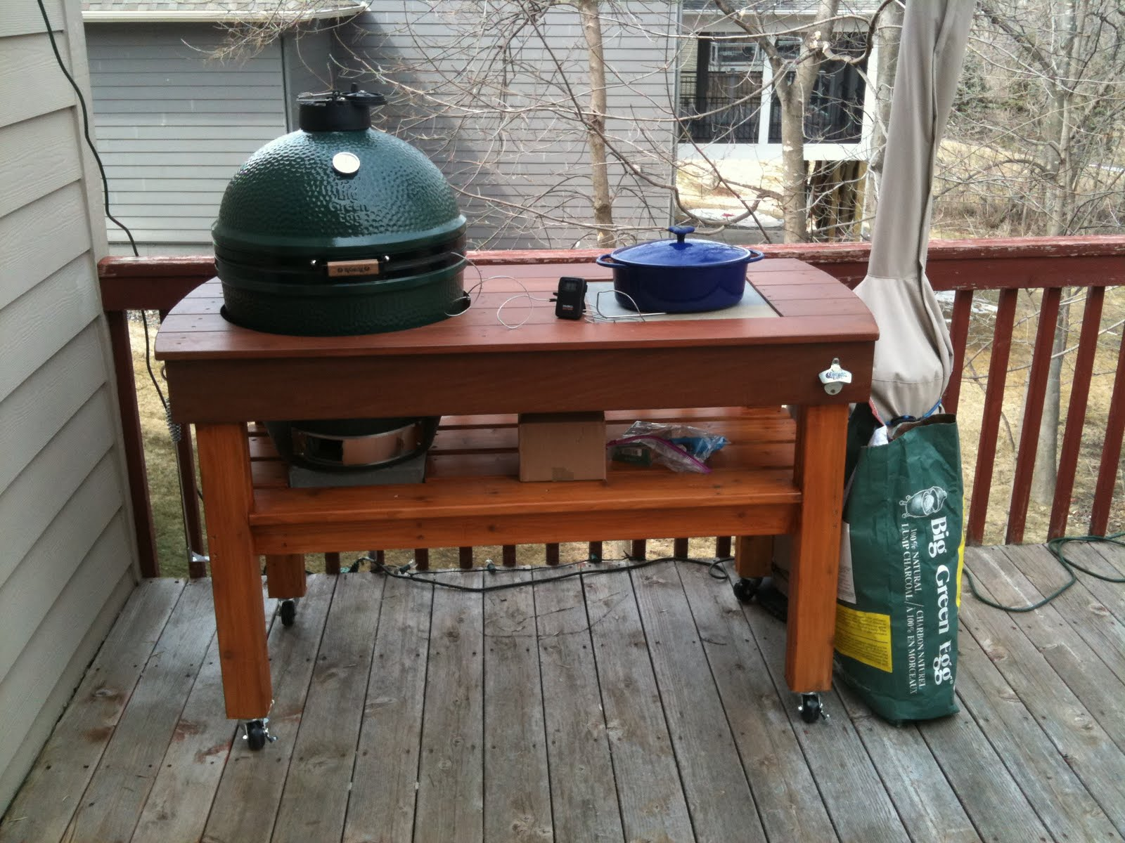 Our Big Green Egg Homemade Table. Took A Couples Days Worth Of Time Along  With Some Elbow Grease.