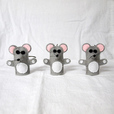 Three Blind Mice felt finger puppets handmade by Joanne Rich.