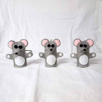 Three Blind Mice felt finger puppets handmade by Joanne Rich.