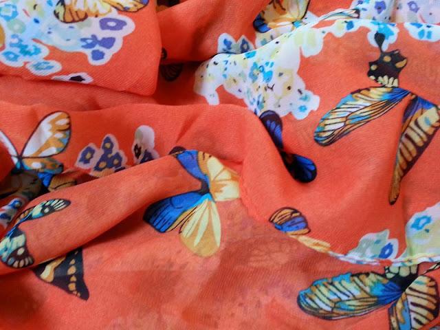 shawl chiffon printed butterfly oren
