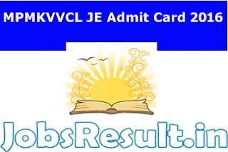 MPMKVVCL JE Admit Card 2016