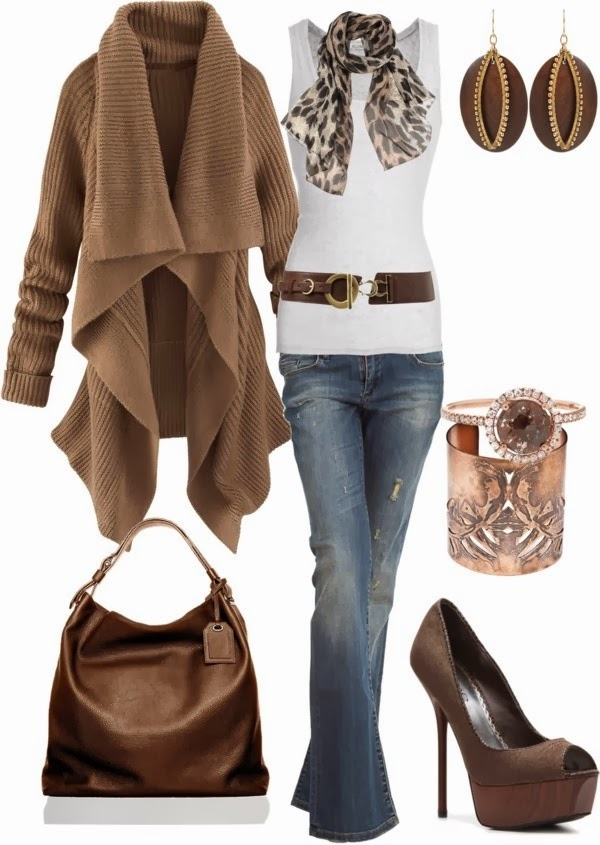 Adorable brown jacket, white blouse, scarf, jeans and hand bag for fall